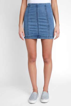 Free People Modern Femme Mini Light Denim Skirt