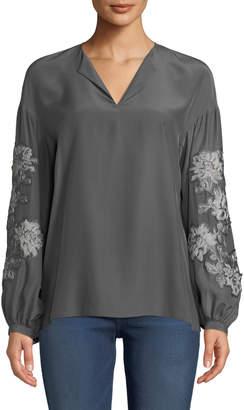 Lafayette 148 New York Aquila Split-Neck Embroidered Sleeve Matte Silk Blouse