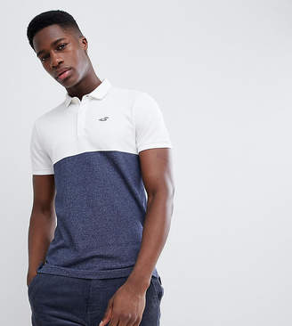 Hollister Color Block Seagull Logo Pique Polo in White/Navy EXCLUSIVE TO ASOS