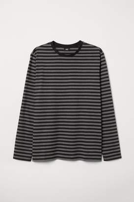 H&M Long-sleeved Cotton Shirt - Gray