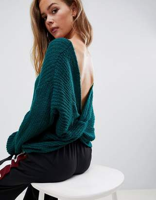 Missguided twist back sweater in green
