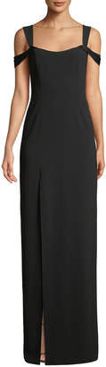 Halston Cold-Shoulder Fitted Crepe Gown