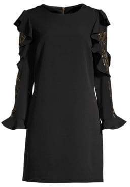 Laundry by Shelli Segal Women's Ruffled Crepe& Metallic Mesh Long-Sleeve Dress - Black Multi - Size 8