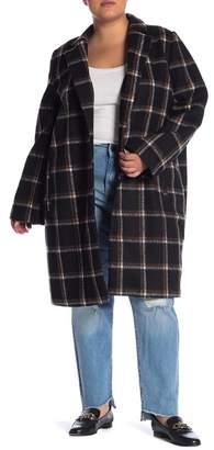 Melrose and Market Plaid Long Line Coat (Plus Size)