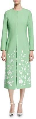 Oscar de la Renta Floral-Embroidered Hook-Front Calf-Length Stretch-Wool Coat