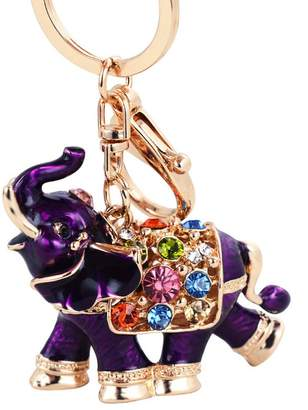 Osye - K Osye Gold-tone Bling Crystal Animals Featured Thailand Elephant Keychain Cute Purse Handbag Charm Oil Drip Gift