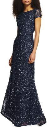 Adrianna Papell Short-Sleeve Sequined Gown