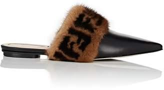 Fendi Women's Fur-Trimmed Leather Mules