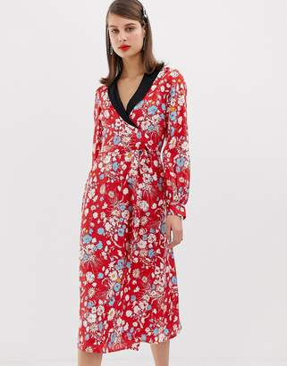 Asos DESIGN midi dress with long sleeves in floral jacquard print