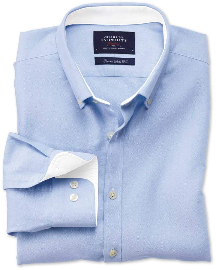 Extra Slim Fit Sky Blue Washed Oxford Cotton Casual Shirt Single Cuff Size Small by Charles Tyrwhitt