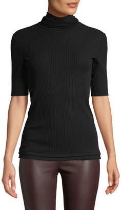 Helmut Lang Short-Sleeve Ribbed Cotton Turtleneck Sweater