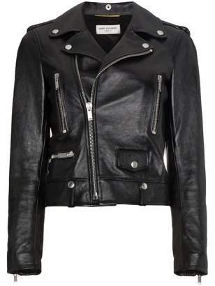 Saint Laurent Leather Cropped Biker Jacket
