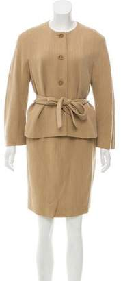 Max Mara Wool Belted Pencil Skirt Suit