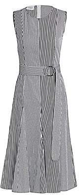 Akris Punto Women's Patchwork Stripe Sleeveless Poplin A-Line Dress
