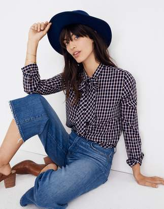 Madewell Tie-Neck Shirt in Lambeth Plaid