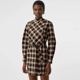 Burberry Check Cotton Tie-waist Shirt Dress , Size: 08, Black