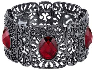 1928 Filigree Faceted Oval Stone Stretch Bracelet