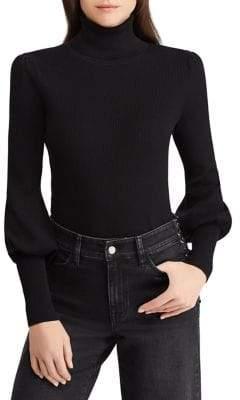 Lauren Ralph Lauren Petite Petite Ribbed Puff-Sleeve Sweater
