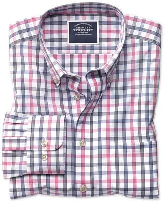 Charles Tyrwhitt Slim Fit Non-Iron White and Pink Large Check Cotton Casual Shirt Single Cuff Size Medium
