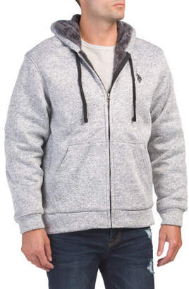 Heathered Fleece Sherpa Lined Hoodie