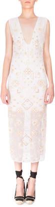 Altuzarra Sleeveless Eyelet-Beaded V-Neck Dress Optic White