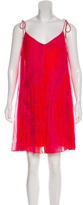 Halston Sleeveless Pleated Mini Dress