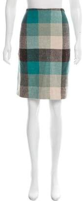 Magaschoni Wool Plaid Pencil Skirt