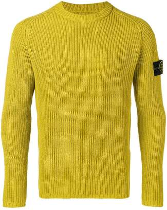 Stone Island logo patch ribbed jumper