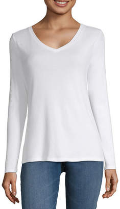 Liz Claiborne Long Sleeve V-Neck Tee - Tall