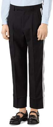 Gucci Track-Stripe Wool Trousers, Black