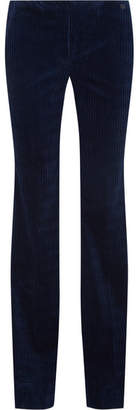 Theory Demitria Stretch-cotton Codurory Flared Pants - Navy
