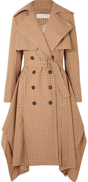 Draped Checked Woven Trench Coat - Brown