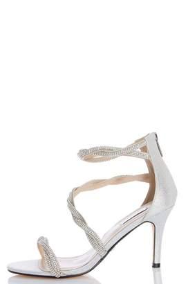 Quiz Silver Diamante Twist Bridal Sandals