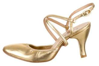 Repetto Leather Round-Toe Pumps Gold Leather Round-Toe Pumps