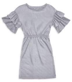 Habitual Girl Girl's Jayline Metallic Pleated Dress