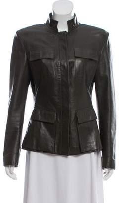 Gucci Leather Mock Neck Jacket