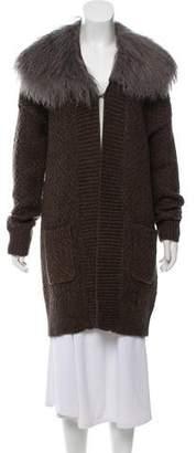 Karl Donoghue Fur-Trimmed Knit Cardigan