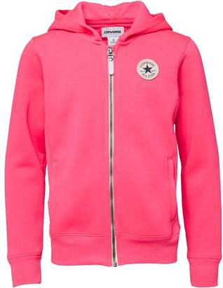 e2e13c00562 Converse Junior Girls CTP Rib Panel Front Zip Through Hoody Pink Pow