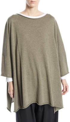 eskandar Short-Sleeve Cashmere Square Top with Slits