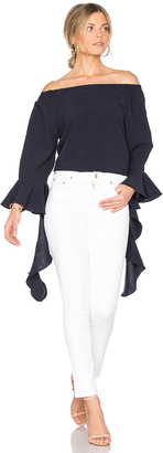 J.O.A. Off The Shoulder Flare Sleeve Top $70 thestylecure.com