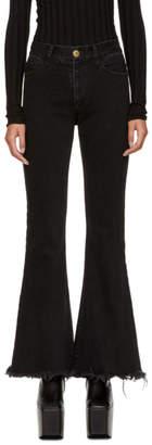 Matthew Adams Dolan SSENSE Exclusive Black Frayed Flare Jeans