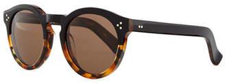 Illesteva Leonard Round Half & Half Sunglasses, Tortoise