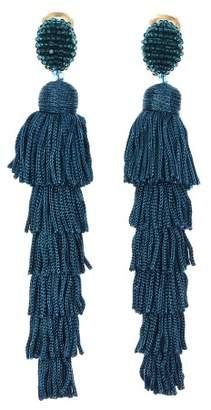 Oscar de la Renta Peacock Tiered Tassel Earrings