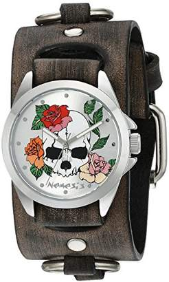Nemesis Unisex 933FRB-S Silver Skull and Roses Series Faded Grey Ring Leather Cuff Band Analog Display Japanese Quartz Grey Watch