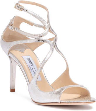 Jimmy Choo Ivette 85 champagne glitter leather sandals