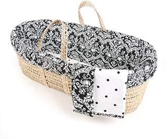 Tadpoles Damask Moses Basket and Bedding Set, Black/White