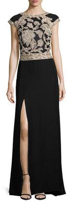 Tadashi Shoji Cap-Sleeve Lace-Trim Crepe Column Gown, Ginseng/Black $408 thestylecure.com
