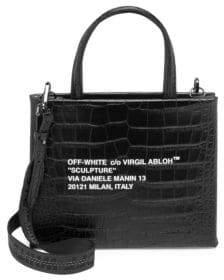 Off-White Sculpture Croc-Embossed Leather Mini Box Bag