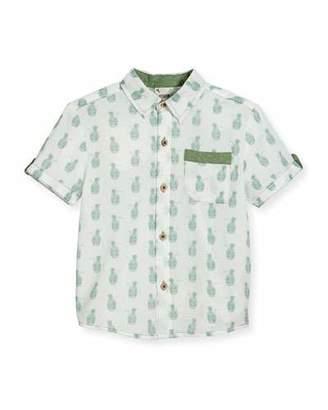 Fore Short-Sleeve Pineapple Skull Poplin Shirt, White, Size 2-8 $45 thestylecure.com