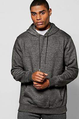 boohoo NEW Mens Lightweight Basic Over the Head Hoodie in Charcoal size M